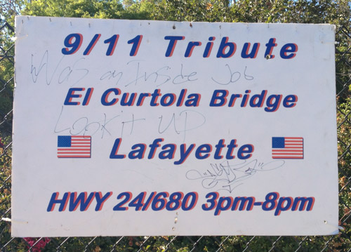 9 11 tribute at el curtola bridge in lafayette today for Pleasant hill coin and jewelry