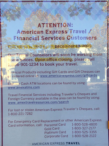 American Express Travel Services Closing Dec 13th In Walnut Creek