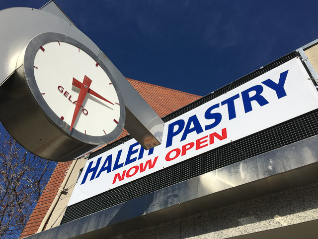 haleh-pastry-walnut-creek-outside-clock