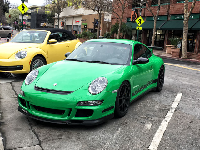 Spotted This Lime Green Porsche In Downtown Walnut Creek. It Was Only Later  That I Realized The Lemon Yellow Volkswagen Beetle Parked Next To It.