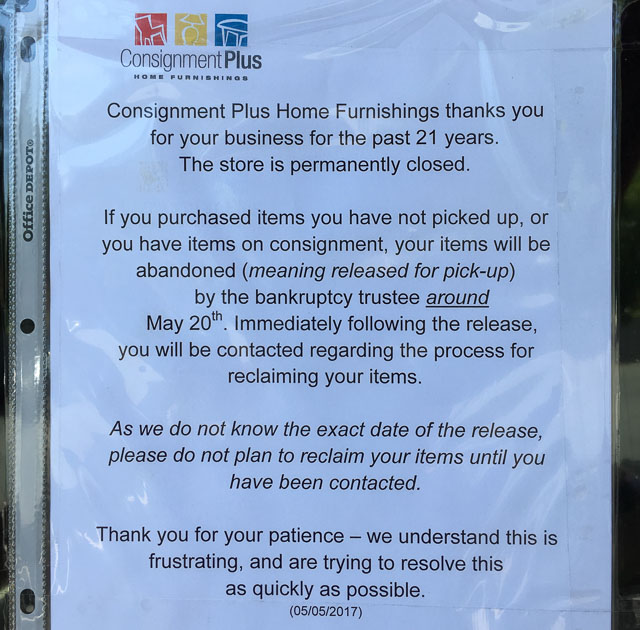Consignment Plus Home Furnishings Closes in Walnut Creek